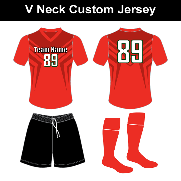 419578de0 V Neck Custom Jersey, Black Shorts, Matching Socks – SP3 – Soccer ...